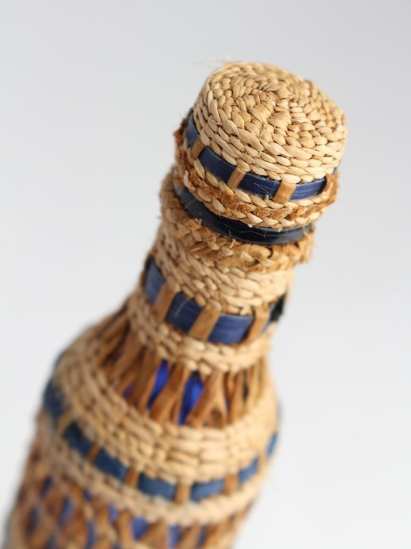 Bottle Decorated with Cedar Weave by Jacinthe Two Bulls