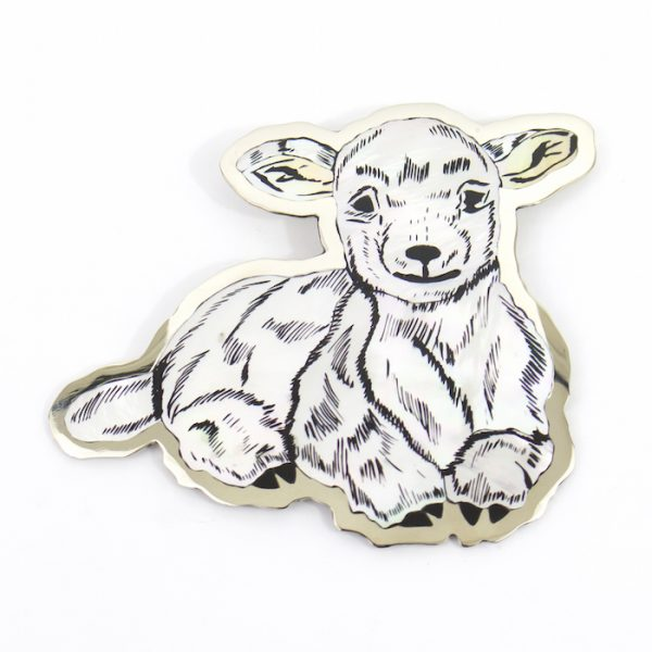 Inlaid Lamb Pin by Dale Edaakie