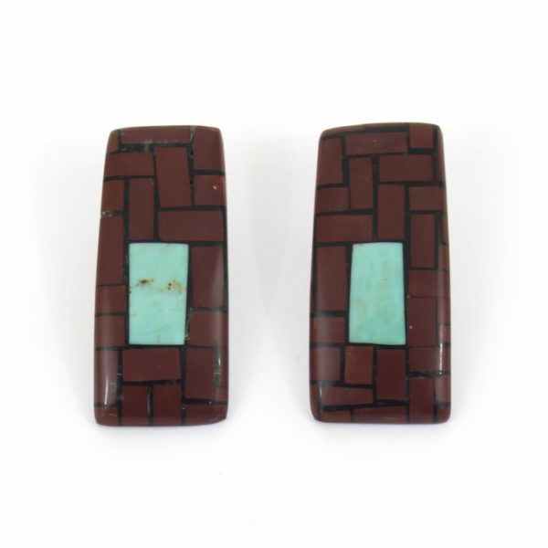 Large Pipestone and Turquoise Mosaic Earrings by Rena and Dean Owen