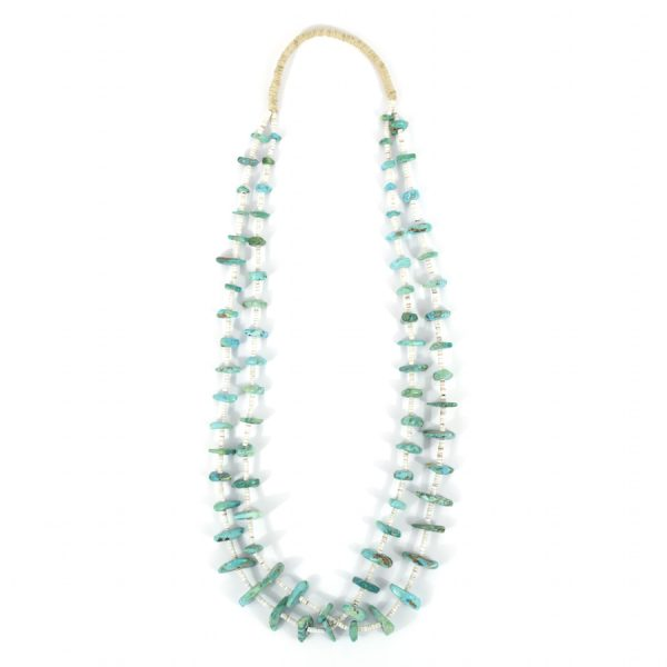 White Clam Shell and Turquoise Nugget Double Strand Necklace