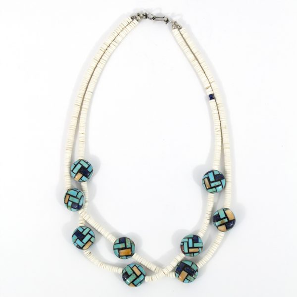 Mosaic and Clam Shell Necklace by Dean and Rena Owen