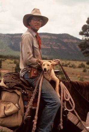 Photo of Douglas Preston, horse Redbone, and dog Acomita.