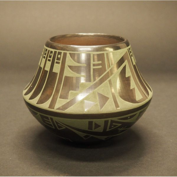 Green on Blackware Pottery Jar