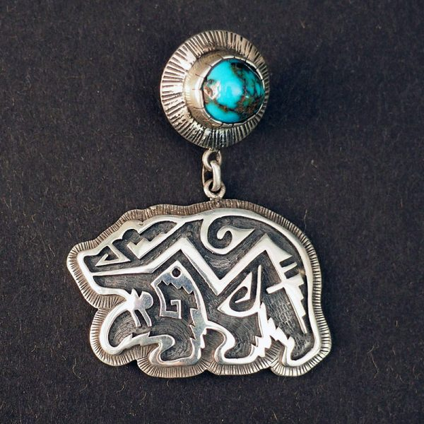 Bear Pendant with Turquoise by Cordell Sakeva