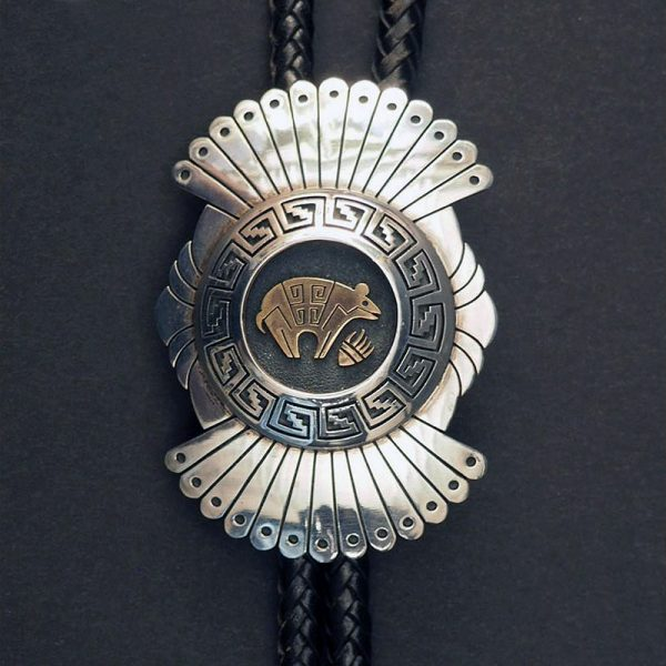 Silver and Gold Bear and Bear Paw Bolo by Gary & Elsie Yoyokie