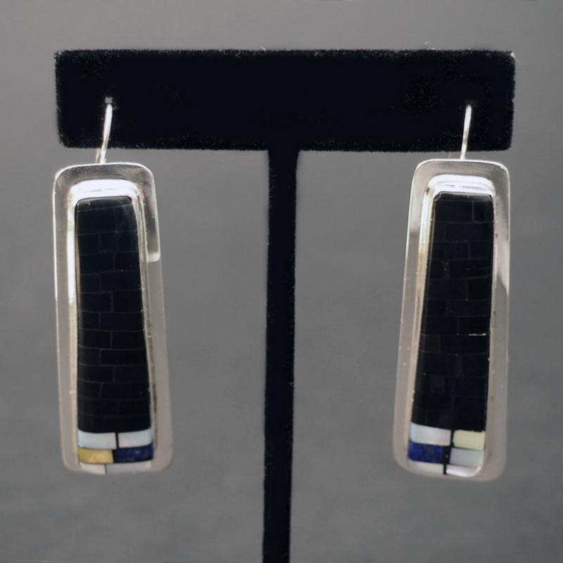 Silver Mosaic Earrings by Charlene Reano