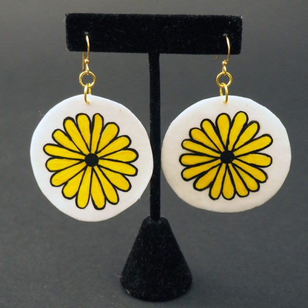 Painted Rawhide Sunflower Earrings by Alice Nequatewa