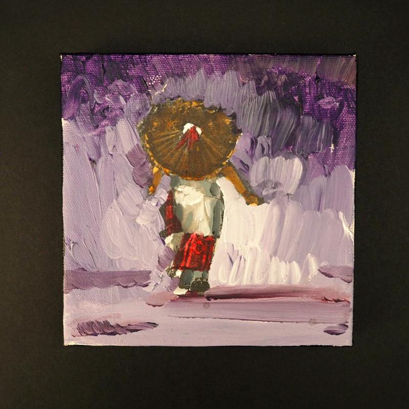 """Female Pueblo Dancer"" Oil Painting by Mateo Romero"