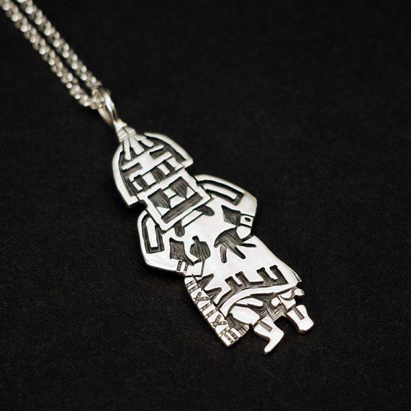 Hopi Overlay Longhair Kachina Pendant