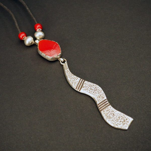 Silver and Rosarita Pendant Necklace by Cippy Crazy Horse