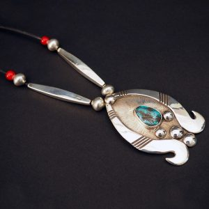 Silver and Widow Maker Turquoise Necklace by Cippy Crazy Horse