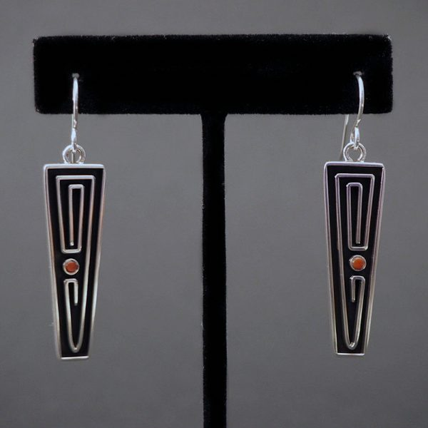 Dangle Earrings with Coral Stone by Albert Nells