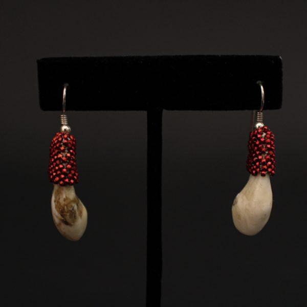 Beaded Elk Ivory Earrings by Marcus Amerman