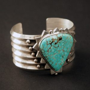 Silver Natural Storm Valley Turquoise Bracelet by Mike Bird Romero