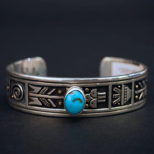 Silver Overlay Bracelet with Turquoise and Gold by Joseph Coriz