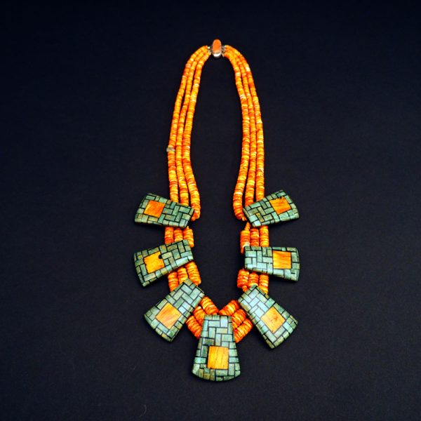 Mosaic Tab Necklace by Rena & Dean Owen