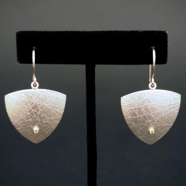 Silver, Gold, Diamond Earrings by Chris Pruitt