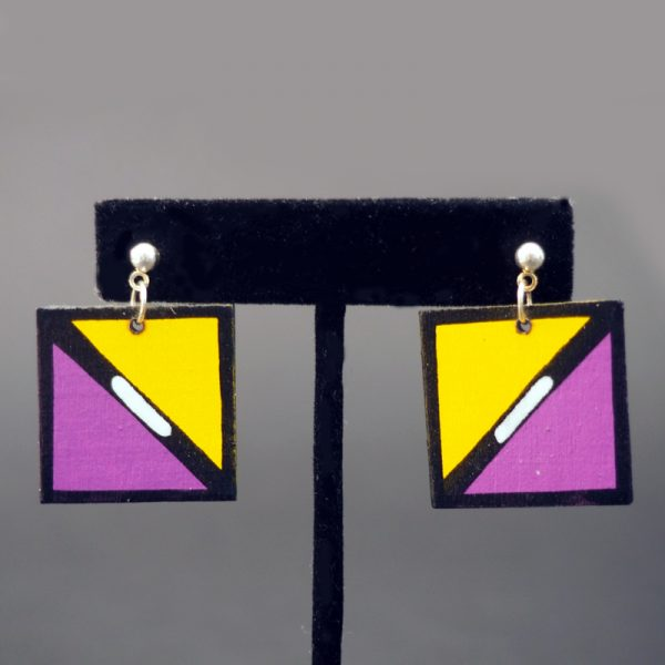 Square Wooden Earrings by Nuva Sekakuku